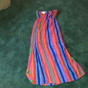 Rainbow strapless maxi dress